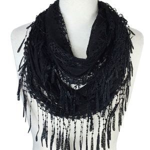 New Fashion Sheer Infinity Lace Scarf Black Color